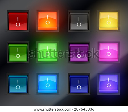 set of different color switch toggle amplifier  - stock vector