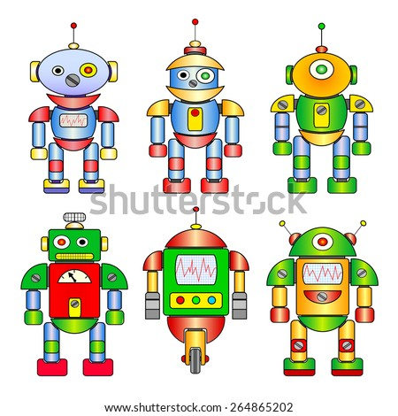 Set of different colored cartoon robots. - stock vector