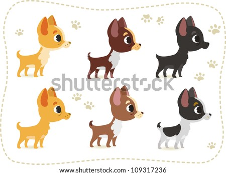 Set of different colored chihuahua - stock vector