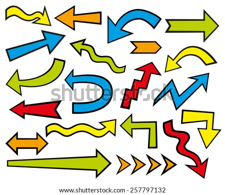 Set of different colorful arrows  - stock vector