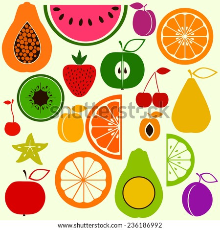 Set of different colorful fruits in simple style