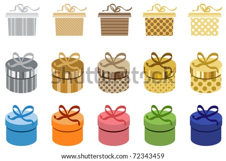 Set of different colorful gift boxes with bows - stock vector