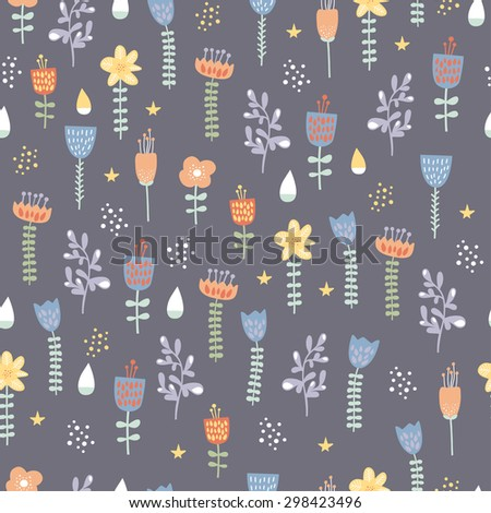 Set of different colorful plants and flowers. Cute objects on dark background. Floral collection. Seamless pattern. Tulips and herbs. - stock vector
