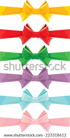 Set of different colors bows isolated on white background - stock vector