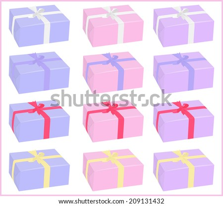 set of different colors boxes  with bows on white background