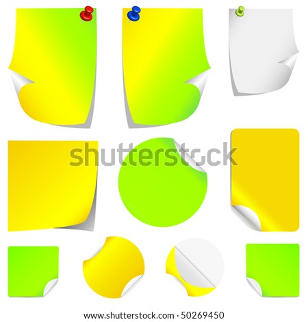 Set of different colors, realistic vector stickers with peeling corners.