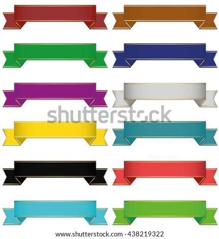 set of 10 different colors ribbons - stock vector