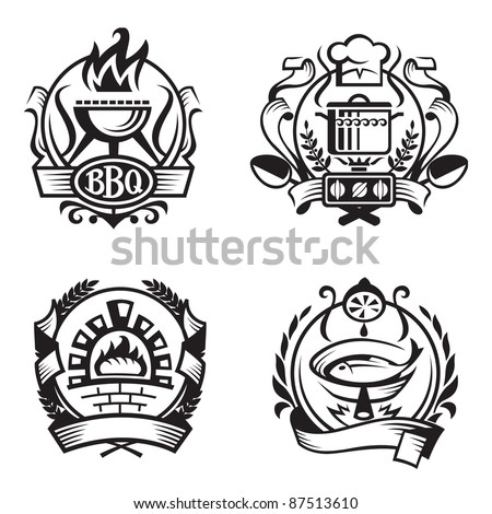 set of different cooking banners - stock vector