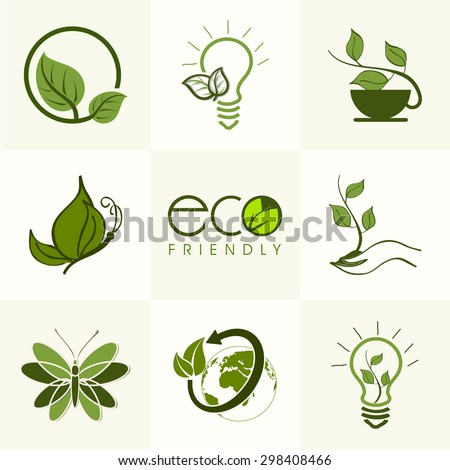 Set of different creative ecological elements on grey background. - stock vector