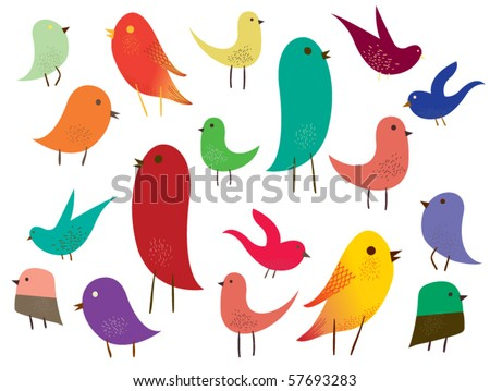 Set of different cute birds. - stock vector