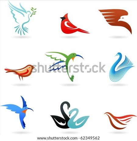 Set of different cute birds icons - stock vector