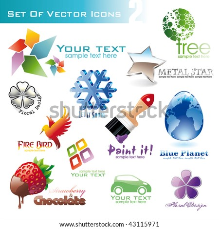 set of different 3d and 2d icons for design. - stock vector