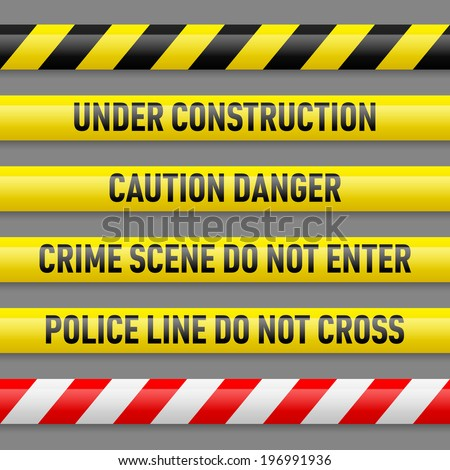 Set of different danger tapes. Tapes with text Under construction, Caution Danger, Crime scene do not enter, Police line do not cross - stock vector