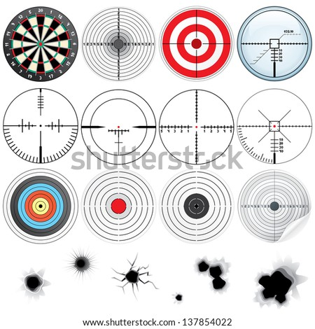 Set of Different Detailed Cross hairs and Targets. Vector Icon - stock vector
