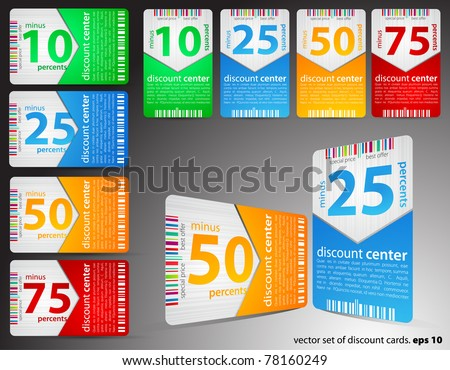 Set of different discount cards - stock vector