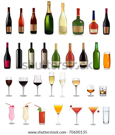 Set of different drinks and cocktails. Vector illustration. - stock vector