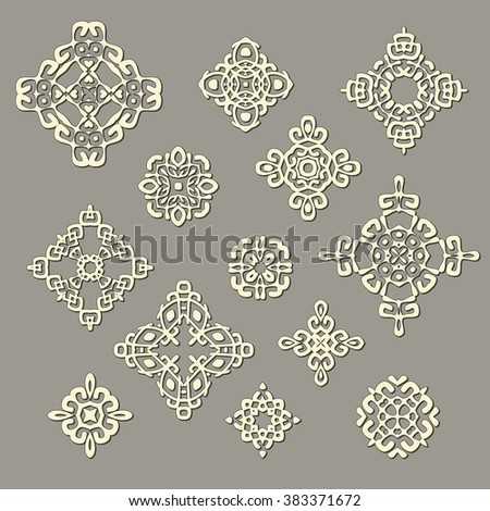 Set of different ethnic signs and design elements. Geometric patterns with shadows. Vector illustration. Could be used for tattoo, logo and icon design , web-design, decoration, etc.  - stock vector