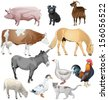 set of different farm animals. Vector illustration - stock vector