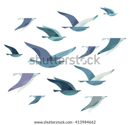 Set Different Flying Birds Style Minimalism 413984662