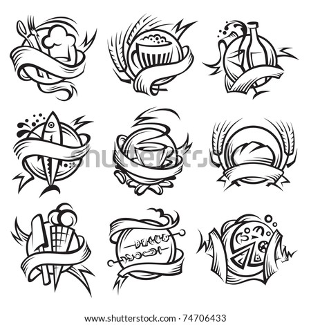 set of different food banners - stock vector