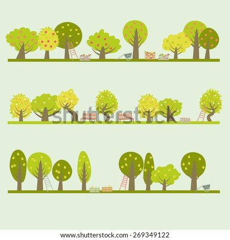 Set of different fruit trees. Vector illustration - stock vector
