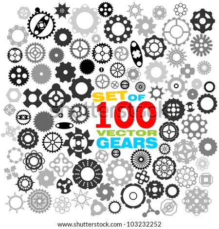 SET of 100 different gears VECTOR (part 3) - stock vector