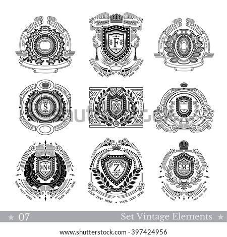 Set of different geometric shields with wreaths. Hipster vintage style templates for business, labels, logos, identity, badges, apparel, shirts, and other branding objects - stock vector