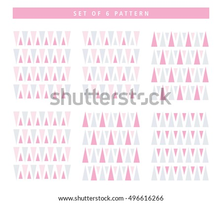 Set of 6 different geometric triangle pattern background. Seamless triangle texture