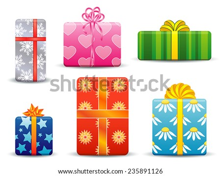 set of different gift boxes, front view, silver with snowflakes, pink with hearts, striped green, blue with stars, red and blue with flowers, tied with a ribbon with a bow - stock vector