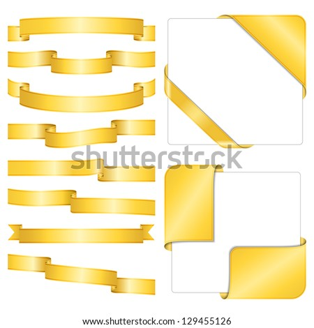 Set of different golden ribbons on white background, vector eps10 illustration - stock vector