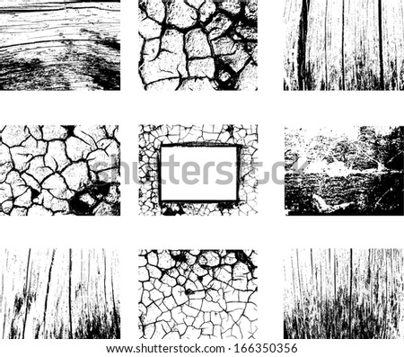 Set of different grunge and natural textures - stock vector
