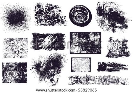Set of different grunge elements vector - stock vector