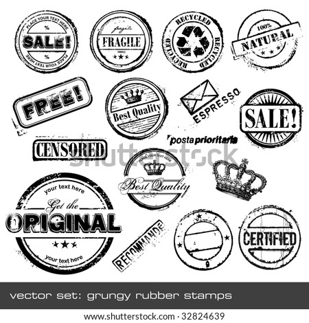 set of different grungy rubber stamps - 16 pieces - stock vector