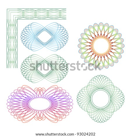 Set of different guilloche rosette on a white background. - stock vector