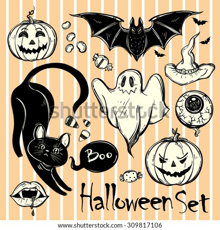 Set of different Halloween characters, animals and objects. Hand drawn holiday symbols. Isolated vector illustration. - stock vector