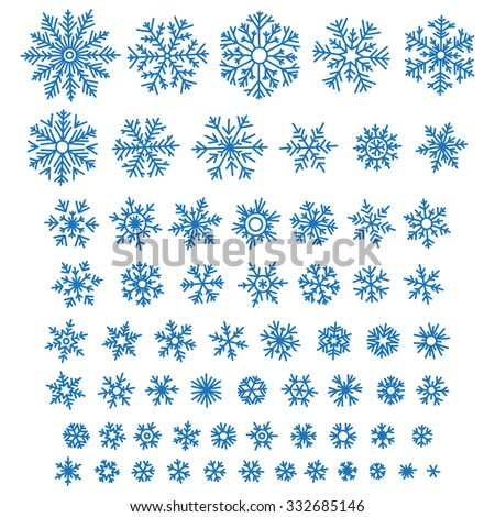 Set of different hand-drawn snowflakes - stock vector