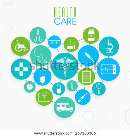 Set of different Health Care elements in heart shape on molecules background. - stock vector