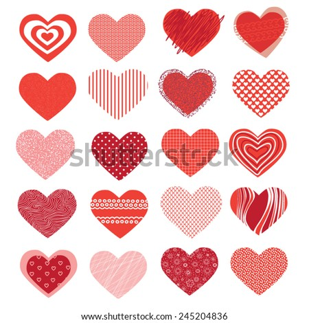 set of different hearts on Valentine's Day - stock vector