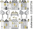 Set of different houses and lanterns on white. Vector illustration. - stock vector