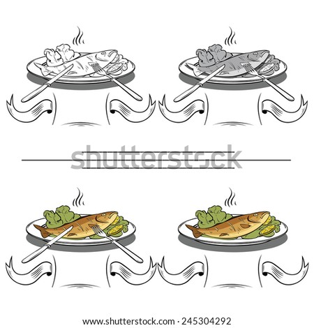 set of different images of fish and dining items - stock vector