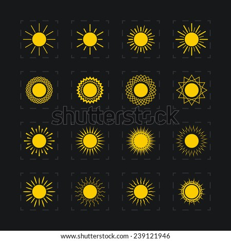 Set of different images of the sun, abstract yellow sun, vector illustration - stock vector