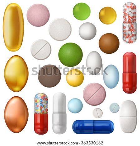 Set of different isolated, colorful pills, EPS 10 contains transparency.  - stock vector