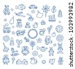 Set of different kids toys (boy and girl) in blue pen outline - stock vector