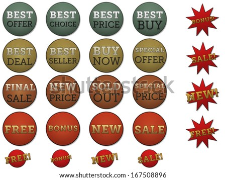 Set of different labels and stickers forÂ?Â? sale, best price and other./Set of different labels and stickers for sale. - stock vector