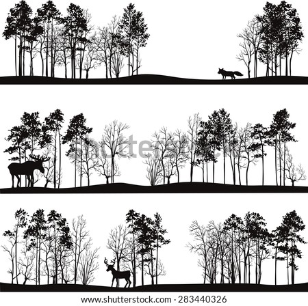 set of different landscapes with pine trees and wild animals, forest silhouettes with deer, elk, fox, hand drawn vector illustration