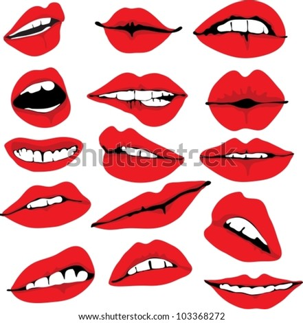 Set of different lips,vector illustration - stock vector
