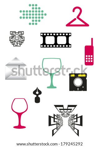 Set of different little simple objects - stock vector
