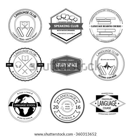 Set Different Logo Templates Language Course Stock Vector (2018 ...