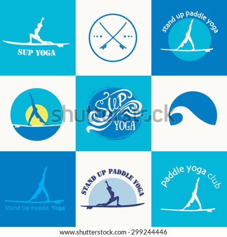 Set of different logotype templates for stand up paddle yoga. Vector athletic labels and badges. Vector flat design style illustration of icons. Template for postcard, personal card or print. - stock vector