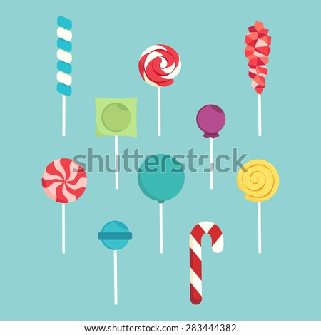 Set of different lollipops on a blue background. - stock vector